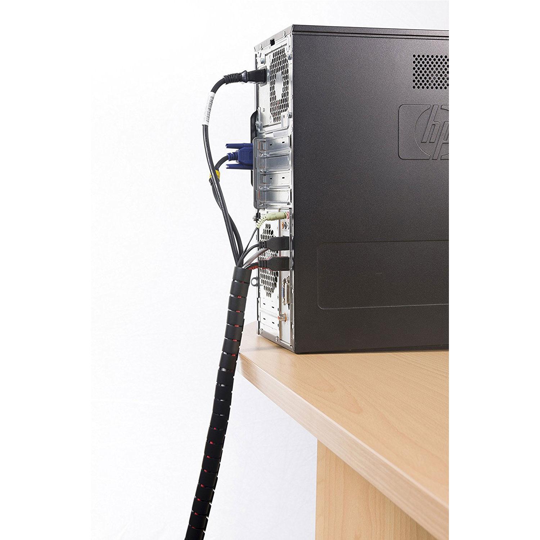 Passe câble D-Line Zipper (Noir) Gaine de rangement tubulaire de 25 mm de diamètre (2.5 mètres)