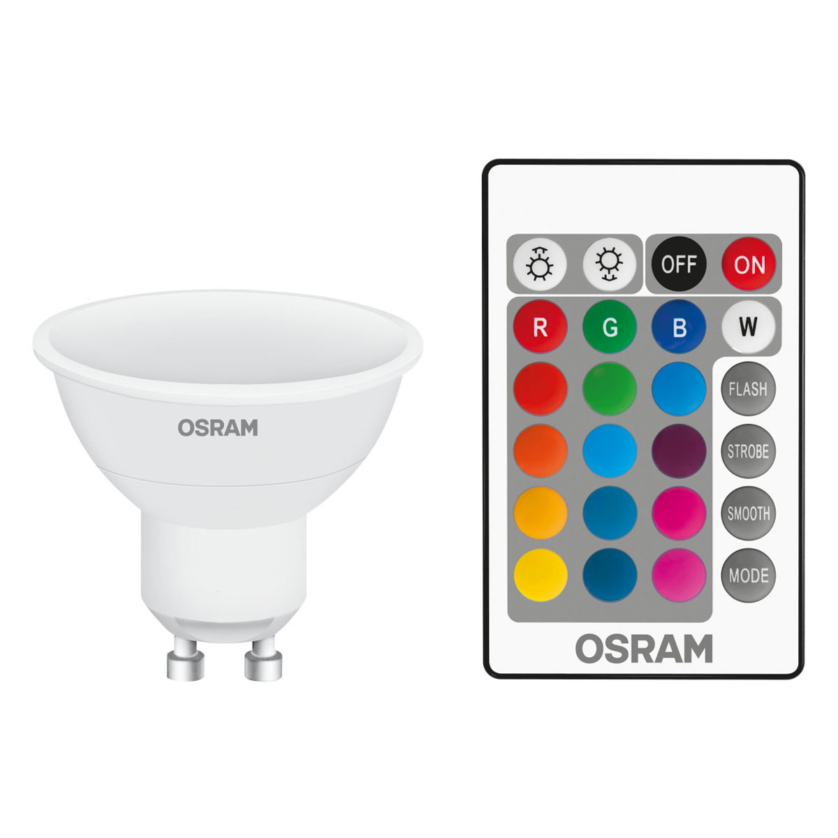 osram ampoule led retrofit rgbw t l commande gu10 4 5w 25w a ampoule led osram sur. Black Bedroom Furniture Sets. Home Design Ideas