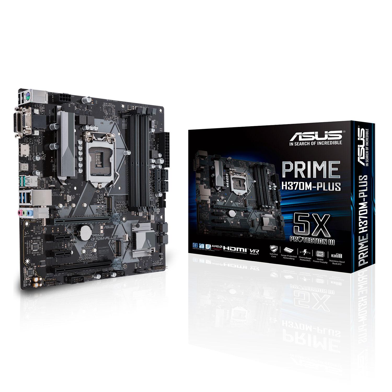 Carte mère ASUS PRIME H370M-PLUS Carte mère Micro-ATX Socket 1151 Intel H370 Express - 4x DDR4 - SATA 6Gb/s + M.2 - USB 3.1 - 2x PCI-Express 3.0 16x