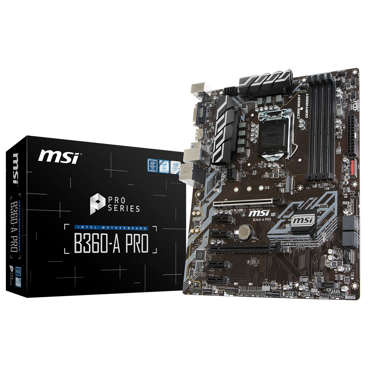 Carte mère MSI B360-A PRO Carte mère ATX Socket 1151 Intel B360 Express - 4x DDR4 - SATA 6Gb/s + M.2 - USB 3.1 - 2x PCI-Express 3.0 16x