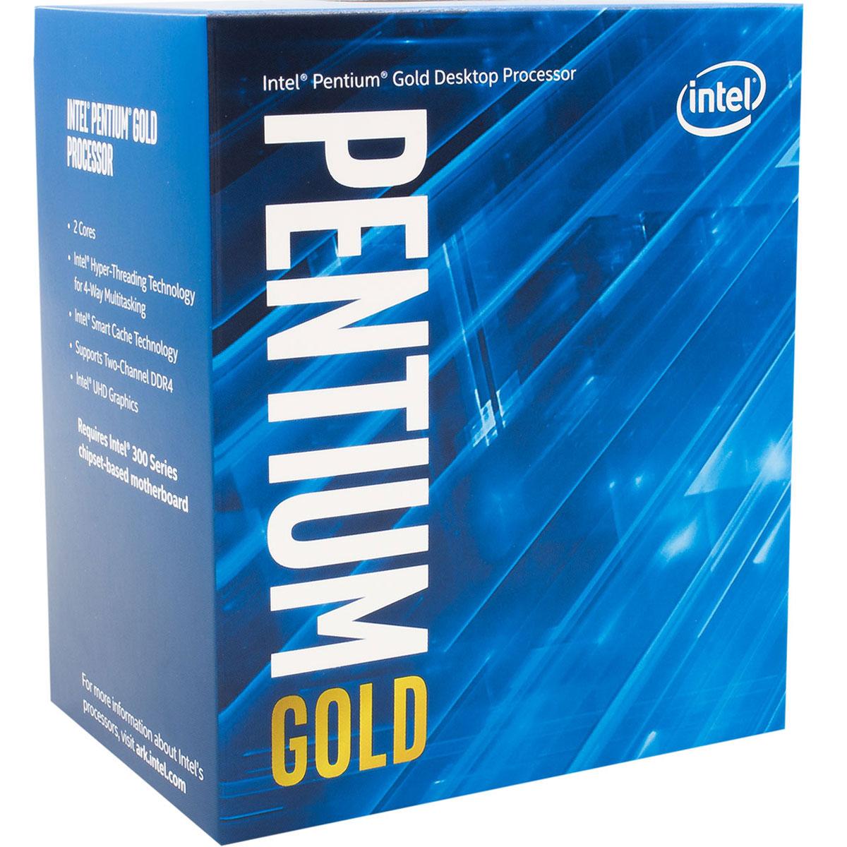 Processeur Intel Pentium Gold G5400 (3.7 GHz) Processeur Dual Core Socket 1151 Cache L3 4 Mo Intel UHD Graphics 610 0.014 micron (version boîte - garantie Intel 3 ans)