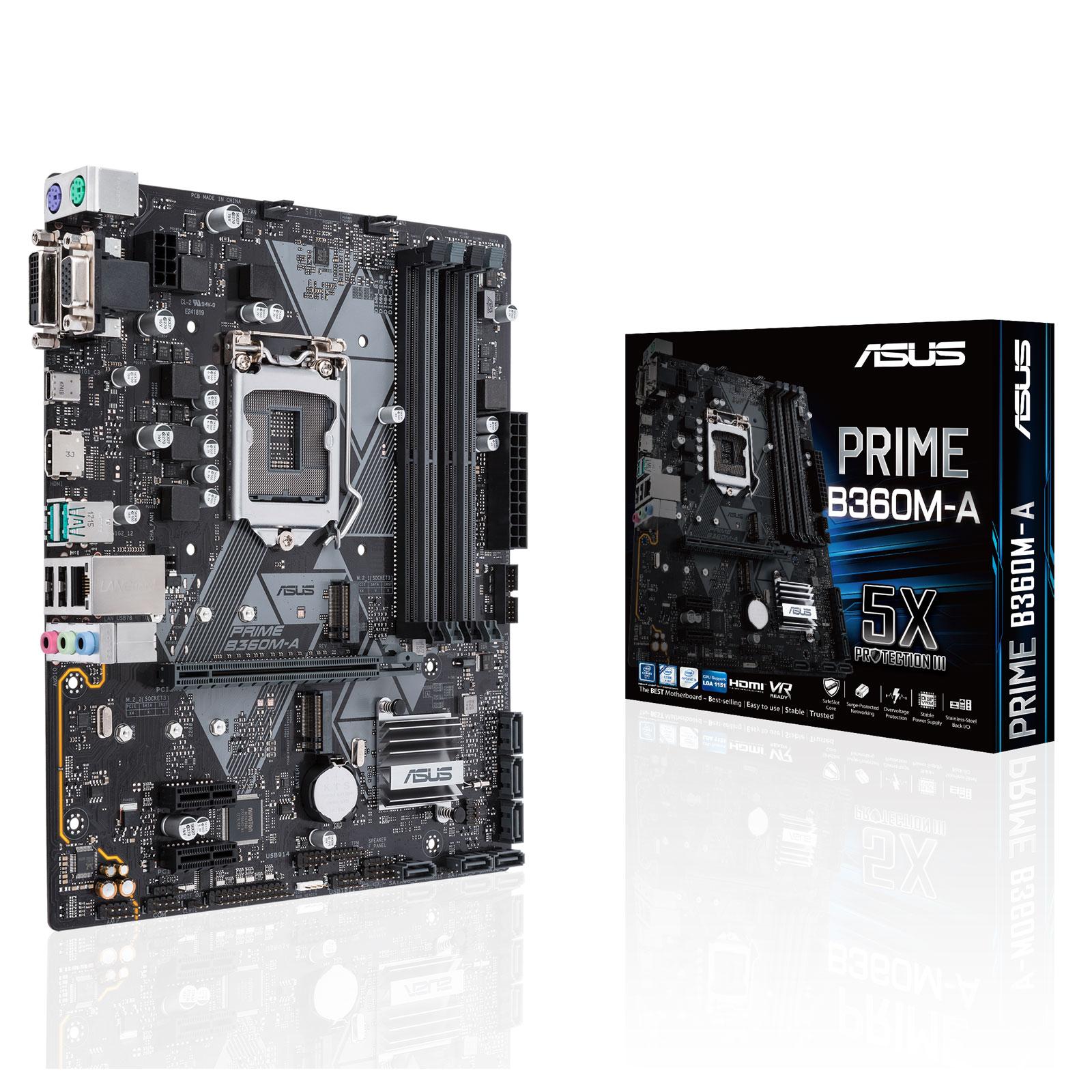 Carte mère ASUS PRIME B360M-A Carte mère Micro ATX Socket 1151 Intel B360 Express - 4x DDR4 - SATA 6Gb/s + M.2 - USB 3.1 - 1x PCI-Express 3.0 16x