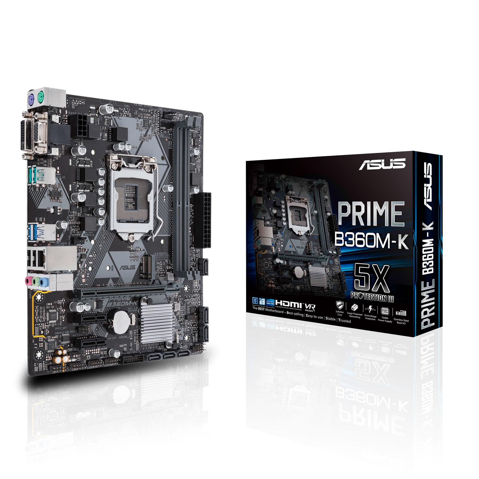 Carte mère ASUS PRIME B360M-K Carte mère Micro ATX Socket 1151 Intel B360 Express - 2x DDR4 - SATA 6Gb/s + M.2 - USB 3.1 - 1x PCI-Express 3.0 16x