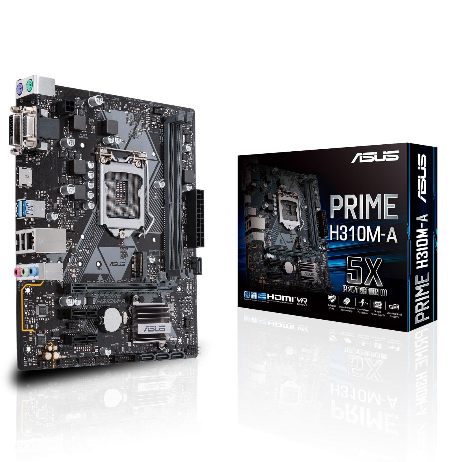 Carte mère ASUS PRIME H310M-A Carte mère Micro ATX Socket 1151 Intel H310 Express - 2x DDR4 - SATA 6Gb/s + M.2 - USB 3.0 - 1x PCI-Express 3.0 16x