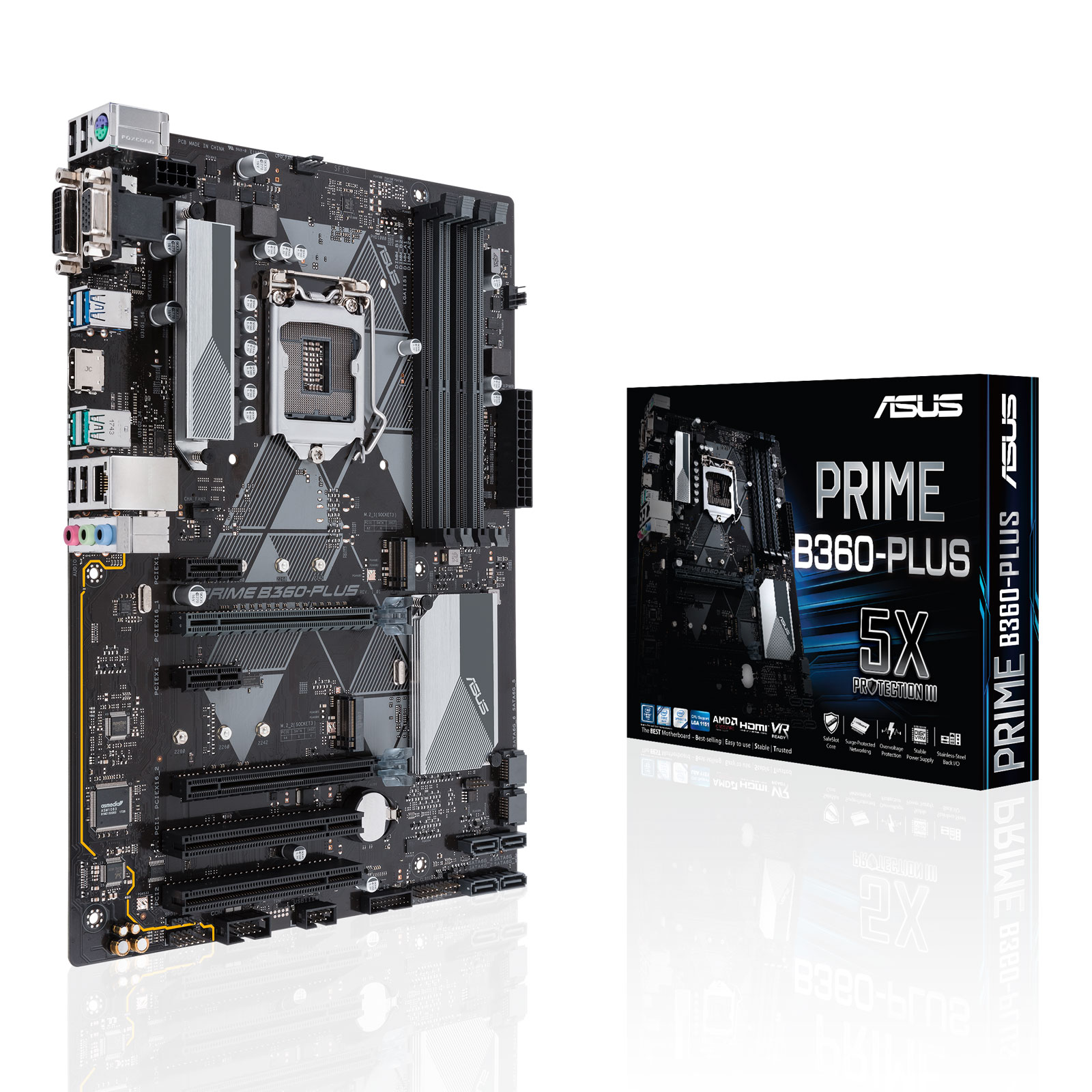 Carte mère ASUS PRIME B360-PLUS Carte mère ATX Socket 1151 Intel B360 Express - 4x DDR4 - SATA 6Gb/s + M.2 - USB 3.1 - 2x PCI-Express 3.0 16x