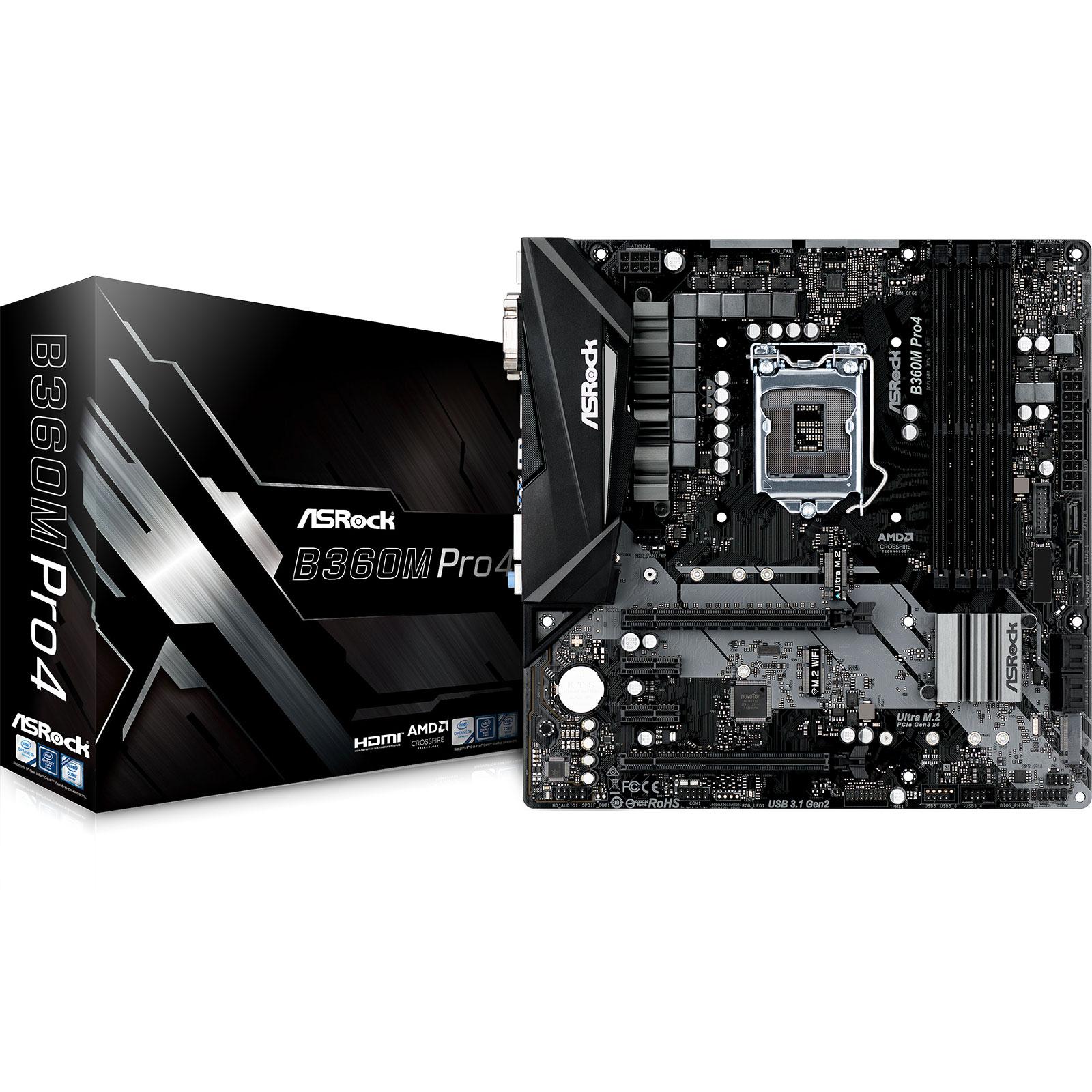 Carte mère ASRock B360M Pro4 Carte mère micro-ATX Socket 1151 Intel B360 Express - 4x DDR4 - SATA 6Gb/s + M.2 - USB 3.1 - 2x PCI-Express 3.0 16x