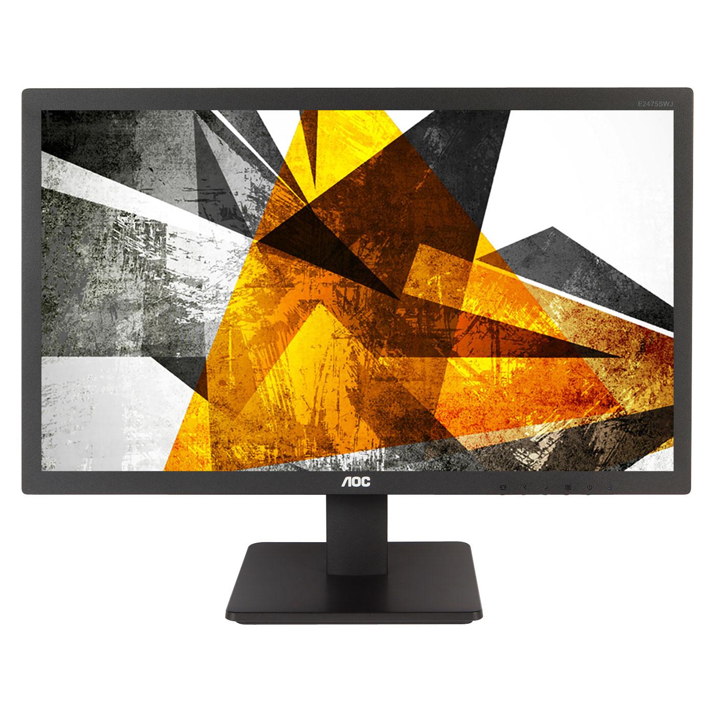 "Ecran PC AOC 23.6"" LED - E2475SWQE 1920 x 1080 pixels  - 1 ms - Format large 16/9 - HDMI - Display Port - Noir"