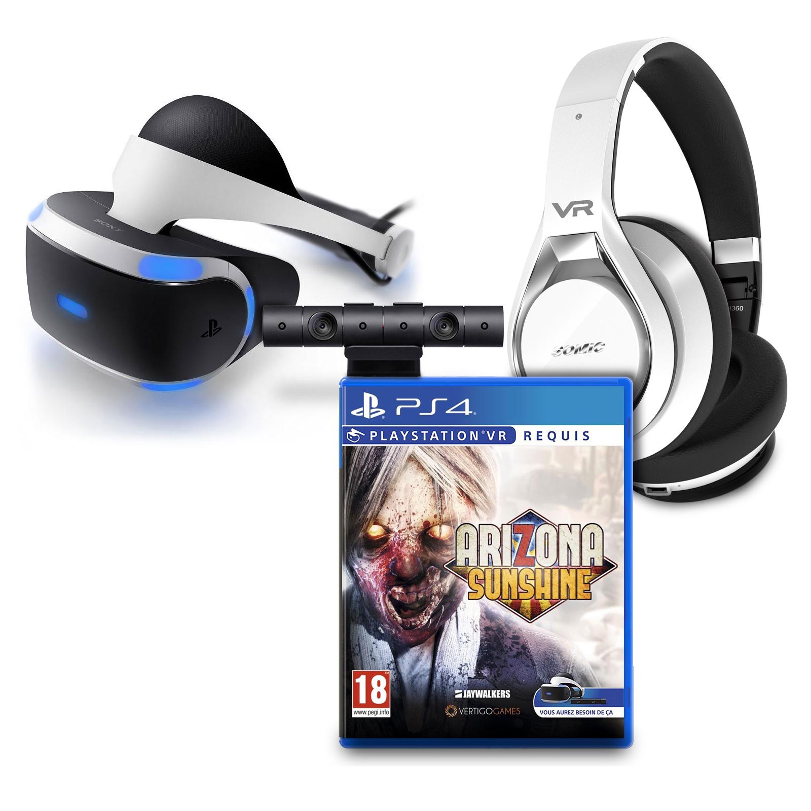 Accessoires PS4 Sony PlayStation VR (PSVR) + Caméra v2 + Arizona Sunshine VR + Somic VRH360 OFFERT ! Casque de réalité virtuelle pour PlayStation 4 + Caméra pour Playstation 4 + Jeu + Casque pour Réalité Virtuelle avec son Surround panoramique 4D 360° et unité de vibration
