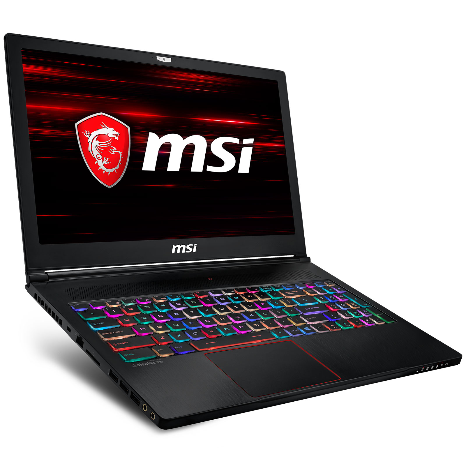 "PC portable MSI GS63 8RE-056FR Stealth Intel Core i7-8750H 8 Go SSD 256 Go + HDD 1 To 15.6"" LED Full HD 120 Hz NVIDIA GeForce GTX 1060 6 Go Wi-Fi AC/Bluetooth Webcam Windows 10 Famille 64 bits (garantie constructeur 2 ans)"