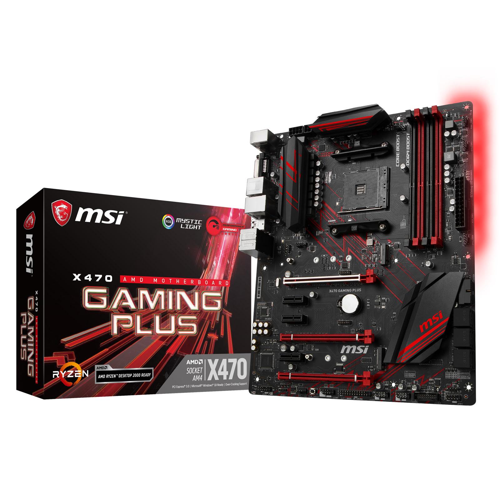 Carte mère MSI X470 GAMING PLUS Carte mère ATX Socket AM4 AMD X470 - 4x DDR4 - SATA 6Gb/s + M.2 - USB 3.1 - 3x PCI-Express 3.0 16x - LED
