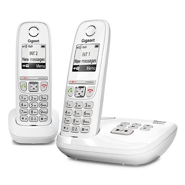 Téléphone sans fil Gigaset AS470A Duo Blanc  Téléphone sans fil mains-libres avec répondeur et combiné supplémentaire