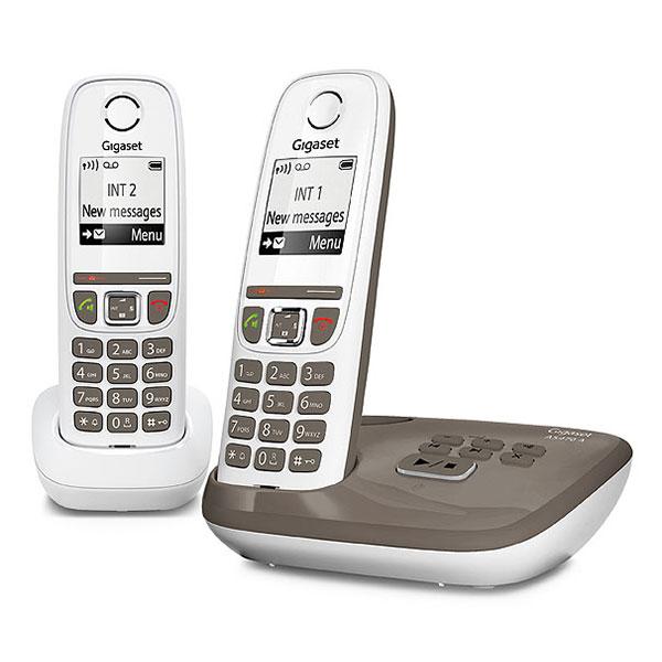 Téléphone sans fil Gigaset AS470A Duo Taupe  Téléphone sans fil mains-libres avec répondeur et combiné supplémentaire