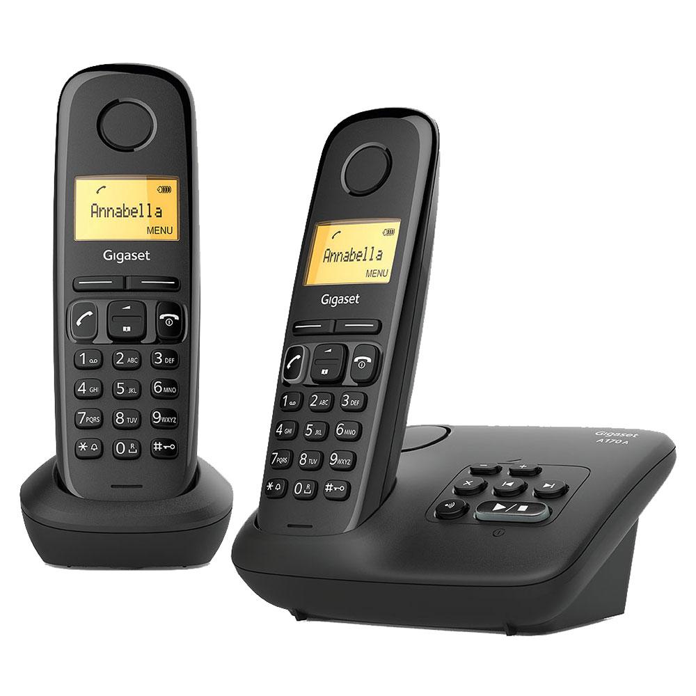 5803f4c08b7581 Gigaset AS170A Duo Noir Téléphone sans fil avec répondeur et combiné  supplémentaire