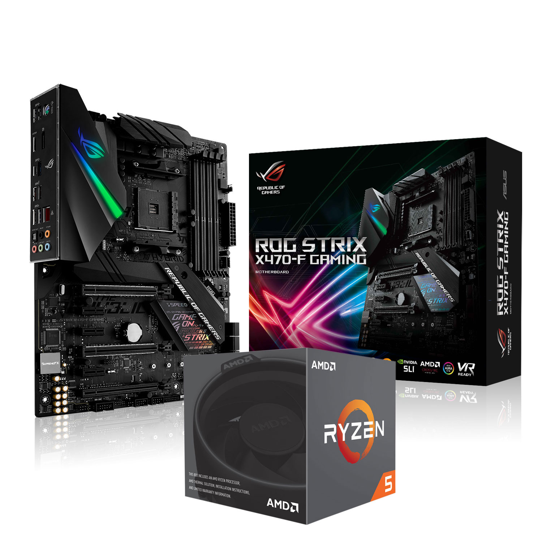 Carte mère ASUS ROG STRIX X470-F Gaming + AMD Ryzen 5 2600X Carte mère ATX Socket AM4 AMD X470 + Processeur AMD Ryzen 5 2600X Wraith Spire Edition