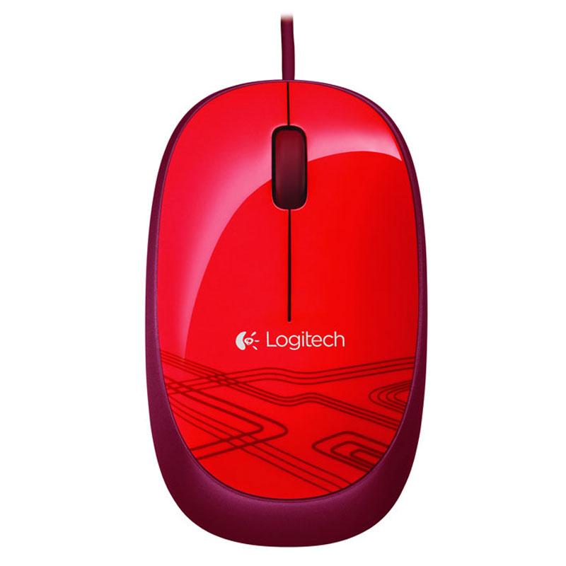 Souris PC Logitech Corded Mouse M105 (Rouge) Souris filaire - ambidextre - capteur optique - 3 boutons