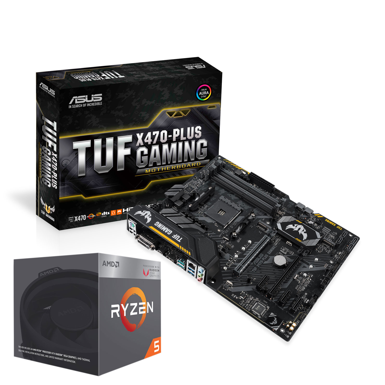 Carte mère ASUS TUF X470-PLUS GAMING + AMD Ryzen 5 2400G Carte mère ATX Socket AM4 AMD X470 + Processeur AMD Ryzen 5 2400G Wraith Stealth Edition