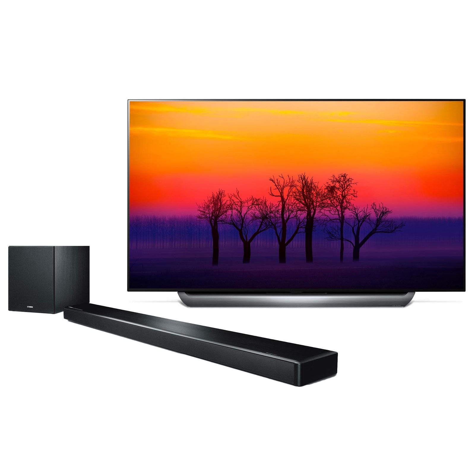 """TV LG OLED55C8 + Yamaha MusicCast YSP-2700 Noir Téléviseur OLED 4K 55"""" (140 cm) 16/9 - 3840 x 2160 pixels - Ultra HD 2160p - HDR - Wi-Fi - Bluetooth - Dolby Atmos (dalle native 100 Hz) + Barre de son multiroom 7.1 avec caisson de basses sans fil, HDMI 2.0 4K et Bluetooth avec MusicCast"""