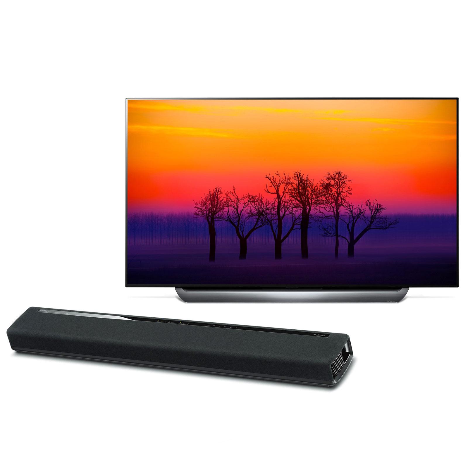 """TV LG OLED55C8 + Yamaha MusicCast YAS-306 Noir Téléviseur OLED 4K 55"""" (140 cm) 16/9 - 3840 x 2160 pixels - Ultra HD 2160p - HDR - Wi-Fi - Bluetooth - Dolby Atmos (dalle native 100 Hz) + Barre de son 2.1 Bluetooth avec MusicCast"""