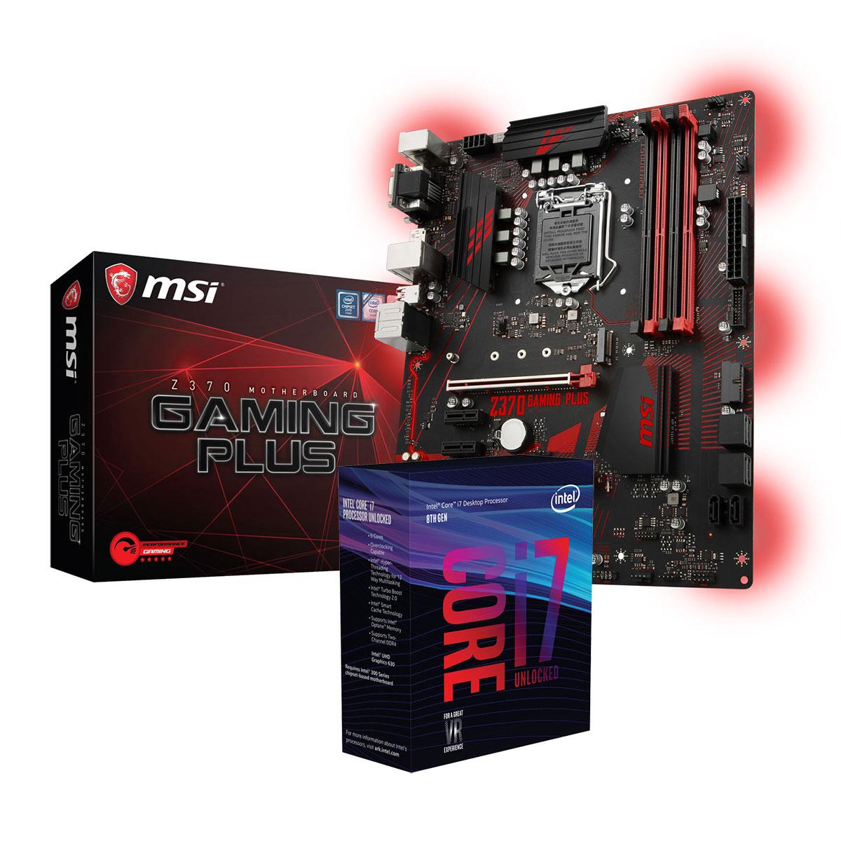 Carte mère MSI Z370 GAMING PLUS + Intel Core i7-8700K Carte mère ATX Socket 1151 Intel Z370 Express + Processeur 6-Core Intel Core i7-8700K (3.7 GHz)