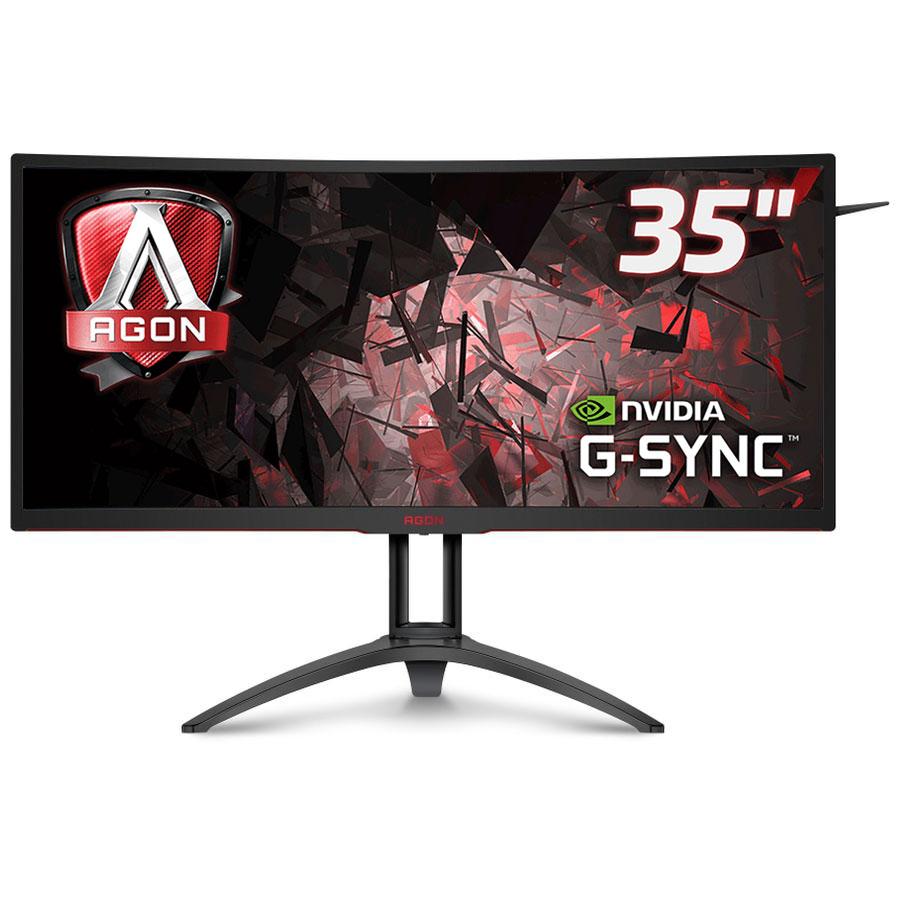 """Ecran PC AOC 35"""" LED - AGON AG352UCG6 3440 x 1440 pixels - 4 ms (gris à gris) - Format large 21/9 - Dalle MVA incurvée - 120 Hz - G-SYNC - DisplayPort - HDMI - Hub USB 3.0 - Noir"""