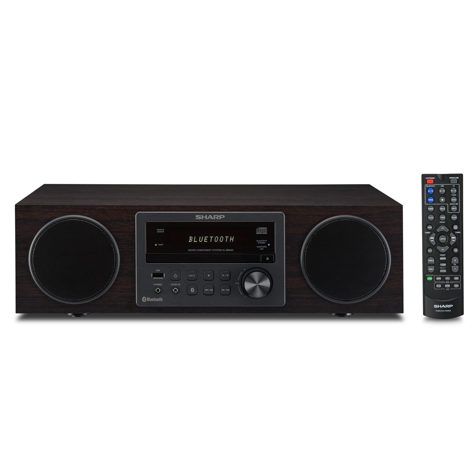 Chaîne Hifi Sharp XL-BB20D Marron Micro-chaîne CD/FM/DAB+/MP3 100 Watts avec Bluetooth et USB