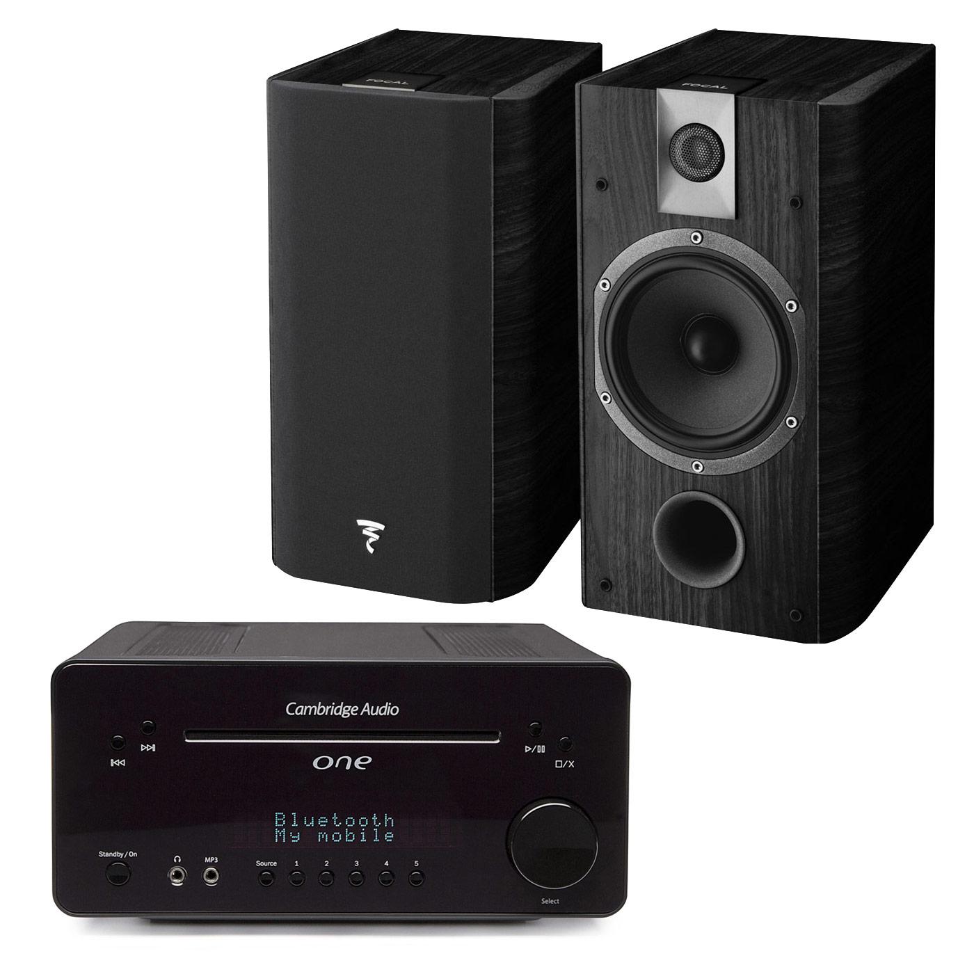 Ensemble Hifi Cambridge One Noir + Focal Chorus 605 Black Style Ampli-tuner 2 x 30 Watts - Lecteur CD/MP3 - Tuner FM/DAB+ - Bluetooth - DAC Wolfson 24bits/96kHz + Enceinte bibliothèque (par paire)