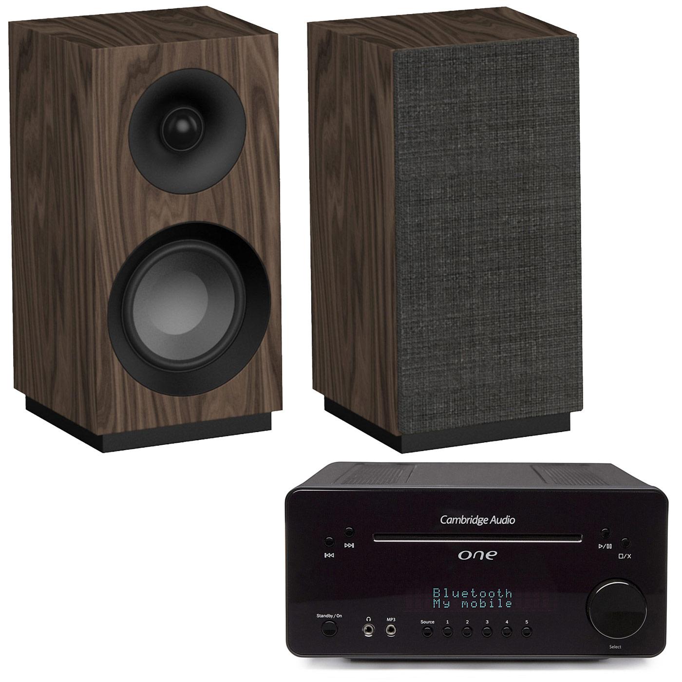 Ensemble Hifi Cambridge One Noir + Jamo S 801 Noyer Ampli-tuner 2 x 30 Watts - Lecteur CD/MP3 - Tuner FM/DAB+ - Bluetooth - DAC Wolfson 24bits/96kHz + Enceinte bibliothèque compacte (par paire)