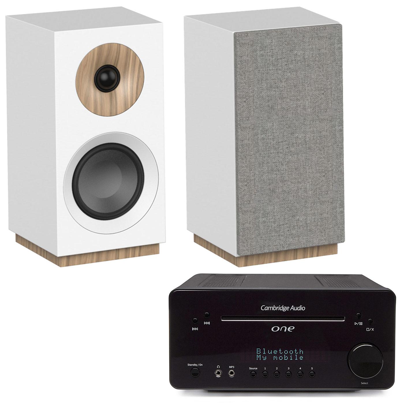 Ensemble Hifi Cambridge One Noir + Jamo S 801 Blanc Ampli-tuner 2 x 30 Watts - Lecteur CD/MP3 - Tuner FM/DAB+ - Bluetooth - DAC Wolfson 24bits/96kHz + Enceinte bibliothèque compacte (par paire)