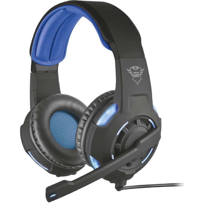 Micro-casque Trust Gaming GXT 350 Radius Casque-micro gamer - circum-aural fermé - son surround 7.1 virtuel - rétro-éclairage - microphone pliable - USB
