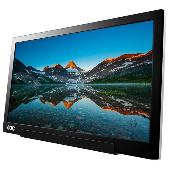 """Ecran PC AOC 15.6"""" LED - I1601FWUX 1920 x 1080 pixels - 5 ms - Format large 16/9 - Dalle IPS - Portable - Alimenté par port USB - Noir/Argent"""