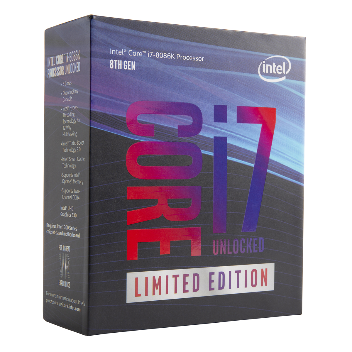 Processeur Intel Core i7-8086K (4.0 GHz) - Limited Edition 40th Anniversary Processeur 6-Core Socket 1151 Cache L3 12 Mo Intel UHD Graphics 630 0.014 micron (version boîte sans ventilateur - garantie Intel 3 ans)