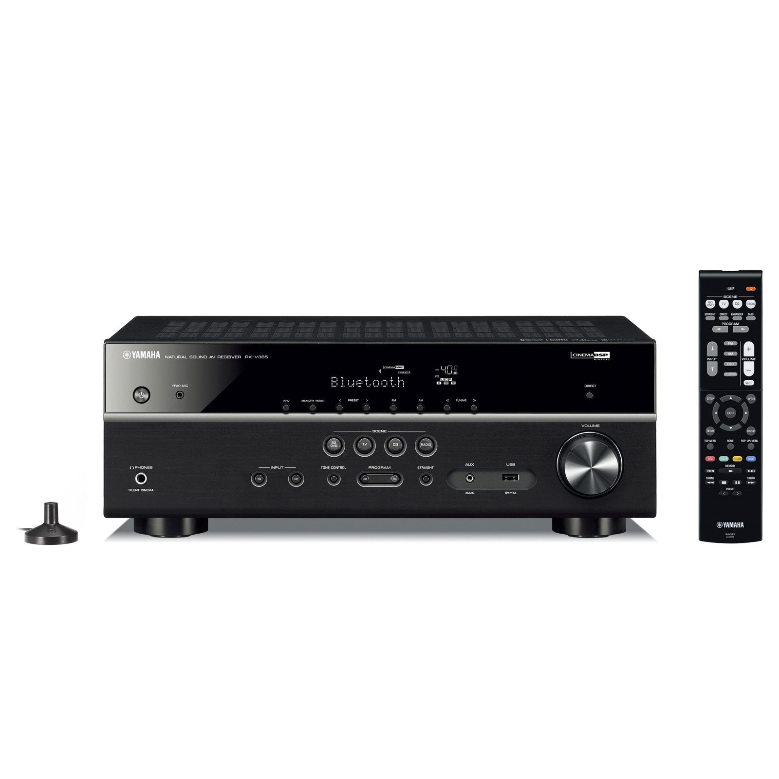 Ampli home cinéma Yamaha RX-V385 Noir Ampli-tuner Home Cinéma 5.1 3D 70 Watts/canal - Dolby TrueHD / DTS-HD Master Audio - 4 entrées HDMI 2.0 HDCP 2.2 - HDR 10/Dolby Vision/HLG - Bluetooth - Calibration YPAO