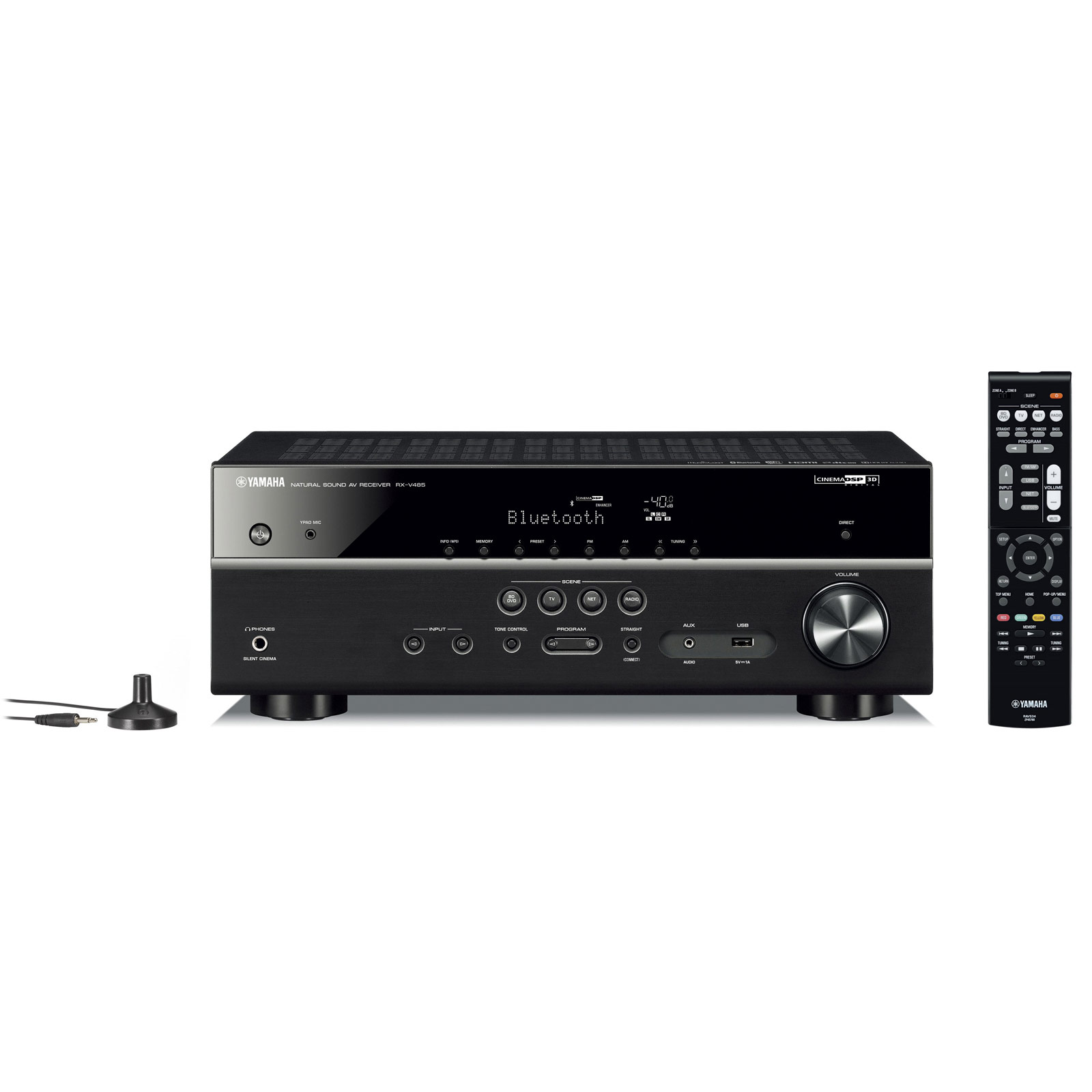 Ampli home cinéma Yamaha RX-V485 Noir Ampli-tuner Home Cinéma 5.1 3D 80 Watts/canal - Dolby TrueHD / DTS-HD Master Audio - 4 entrées HDMI 2.0 HDCP 2.2 - HDR 10/Dolby Vision/HLG - Bluetooth/Wi-Fi/AirPlay - MusicCast - Calibration YPAO