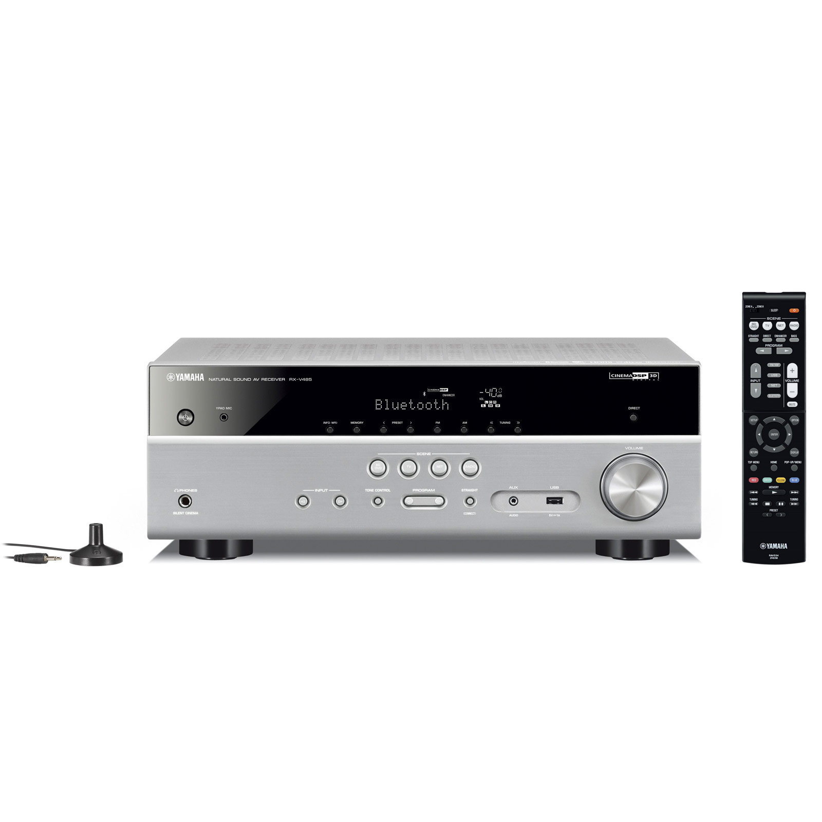Ampli home cinéma Yamaha RX-V485 Titane Ampli-tuner Home Cinéma 5.1 3D 80 Watts/canal - Dolby TrueHD / DTS-HD Master Audio - 4 entrées HDMI 2.0 HDCP 2.2 - HDR 10/Dolby Vision/HLG - Bluetooth/Wi-Fi/AirPlay - MusicCast - Calibration YPAO