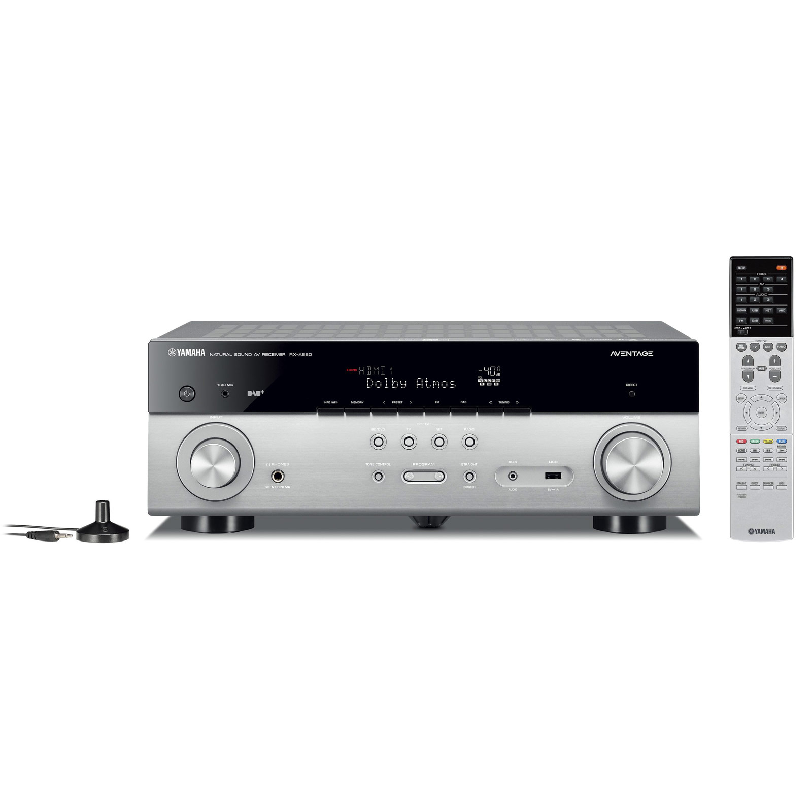 Ampli home cinéma Yamaha MusicCast RX-A680 Titane Ampli-tuner Home Cinéma 7.2 3D 80W/canal - Dolby Atmos/DTS:X - 4x HDMI HDCP 2.2 Ultra HD 4K - Wi-Fi/Bluetooth/DLNA/AirPlay - MusicCast/MusicCast Surround - A.R.T. Wedge - Calibration YPAO