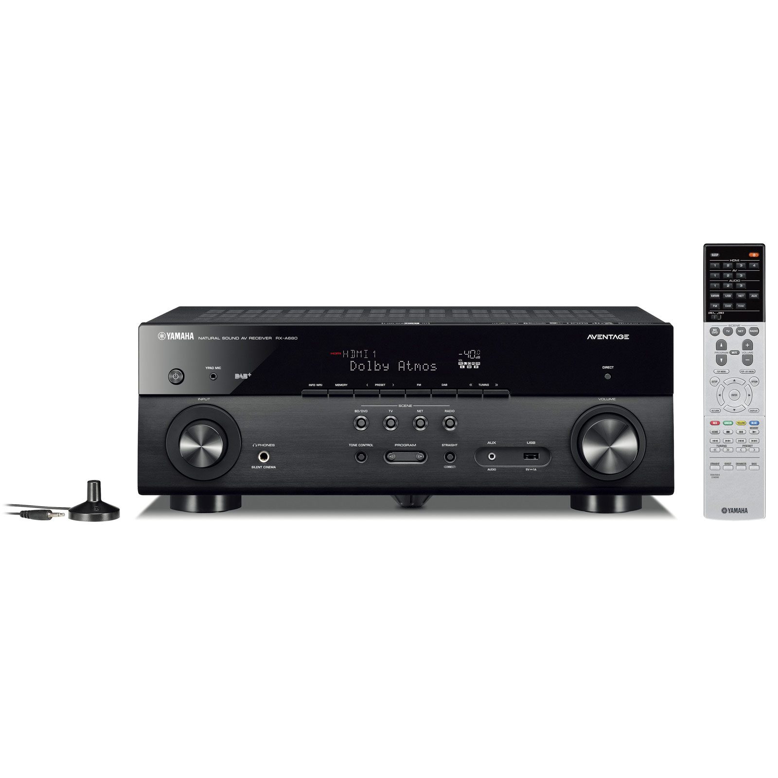 Ampli home cinéma Yamaha MusicCast RX-A680 Noir Ampli-tuner Home Cinéma 7.2 3D 80W/canal - Dolby Atmos/DTS:X - 4x HDMI HDCP 2.2 Ultra HD 4K - Wi-Fi/Bluetooth/DLNA/AirPlay - MusicCast/MusicCast Surround - A.R.T. Wedge - Calibration YPAO
