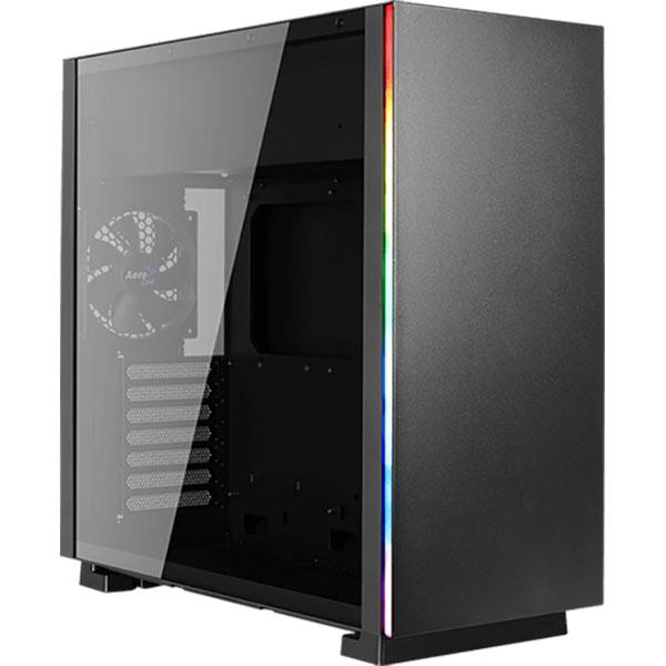 Boîtier PC Aerocool Glo (Noir) Boîtier Moyen Tour avec fenêtre latérale et rétroéclairage RGB en façade