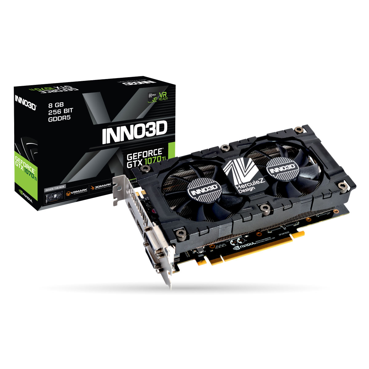 Carte graphique INNO3D GeForce GTX 1070 Ti TWIN X2 V2 8192 Mo DVI/HDMI/DisplayPort - PCI Express (NVIDIA GeForce avec CUDA GTX 1070 Ti)