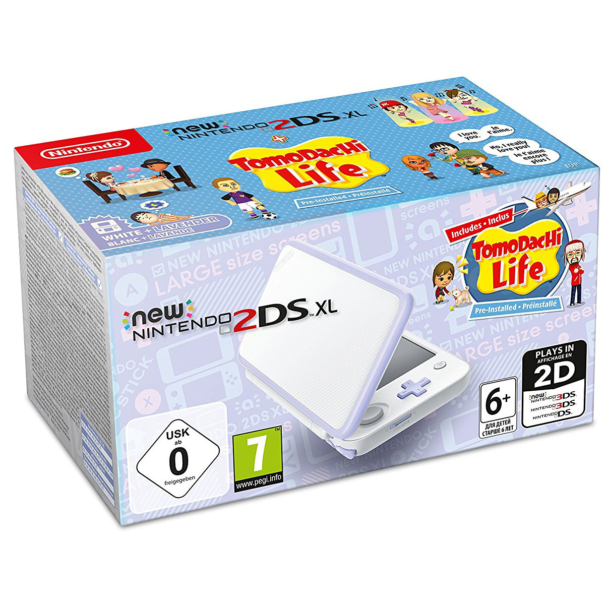Nintendo new 2ds xl blanc lavande tomodachi life console nintendo 3ds nintendo sur - Console de jeux portable tactile ...