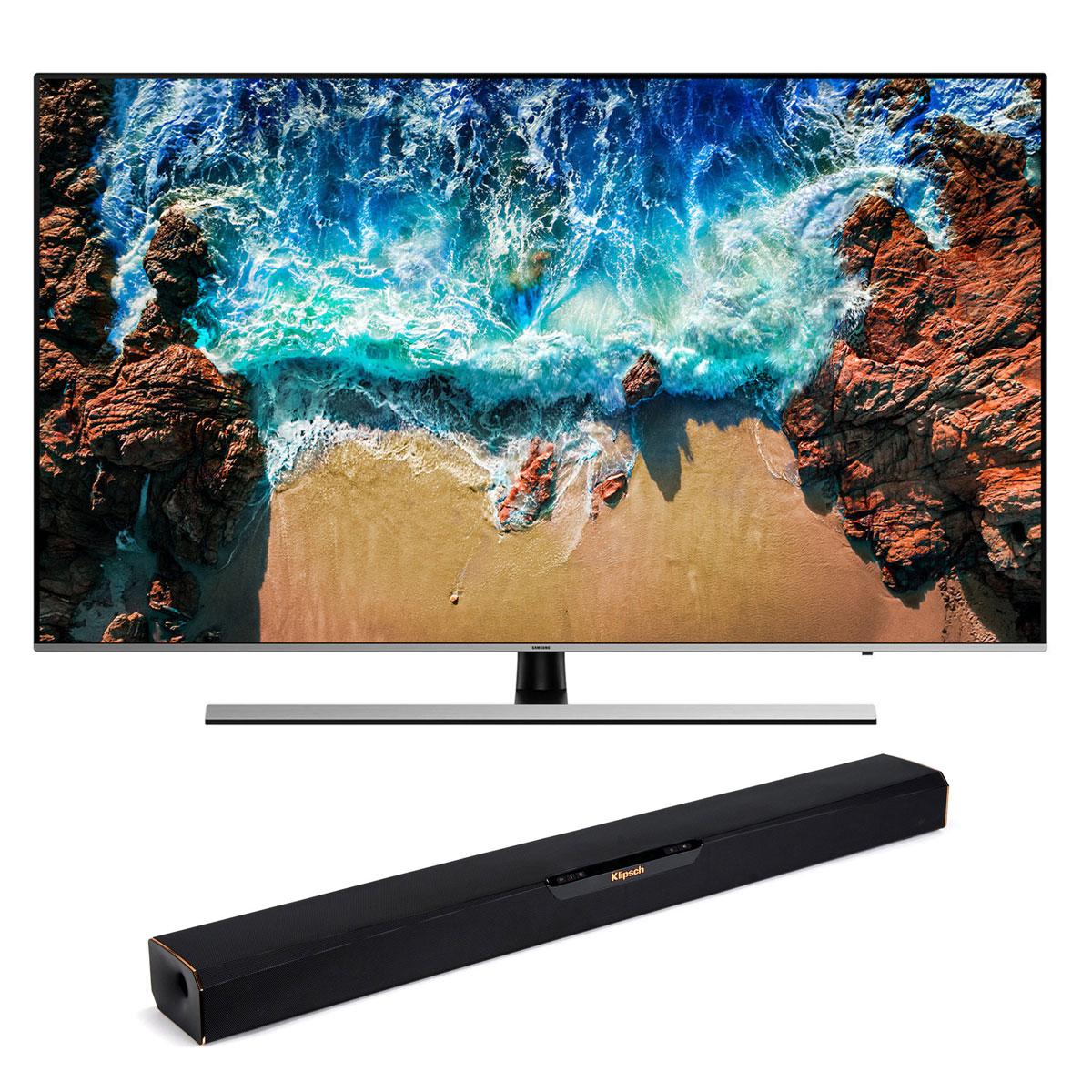 "TV Samsung UE55NU8005 + Klipsch RSB-3 Téléviseur LED 4K 55"" (140 cm) 16/9 - 3840 x 2160 pixels - Ultra HD - HDR - Wi-Fi - Bluetooth - 2500 PQI (dalle native 100 Hz) + Barre de son 2.0 56 Watts avec technologie Bluetooth"