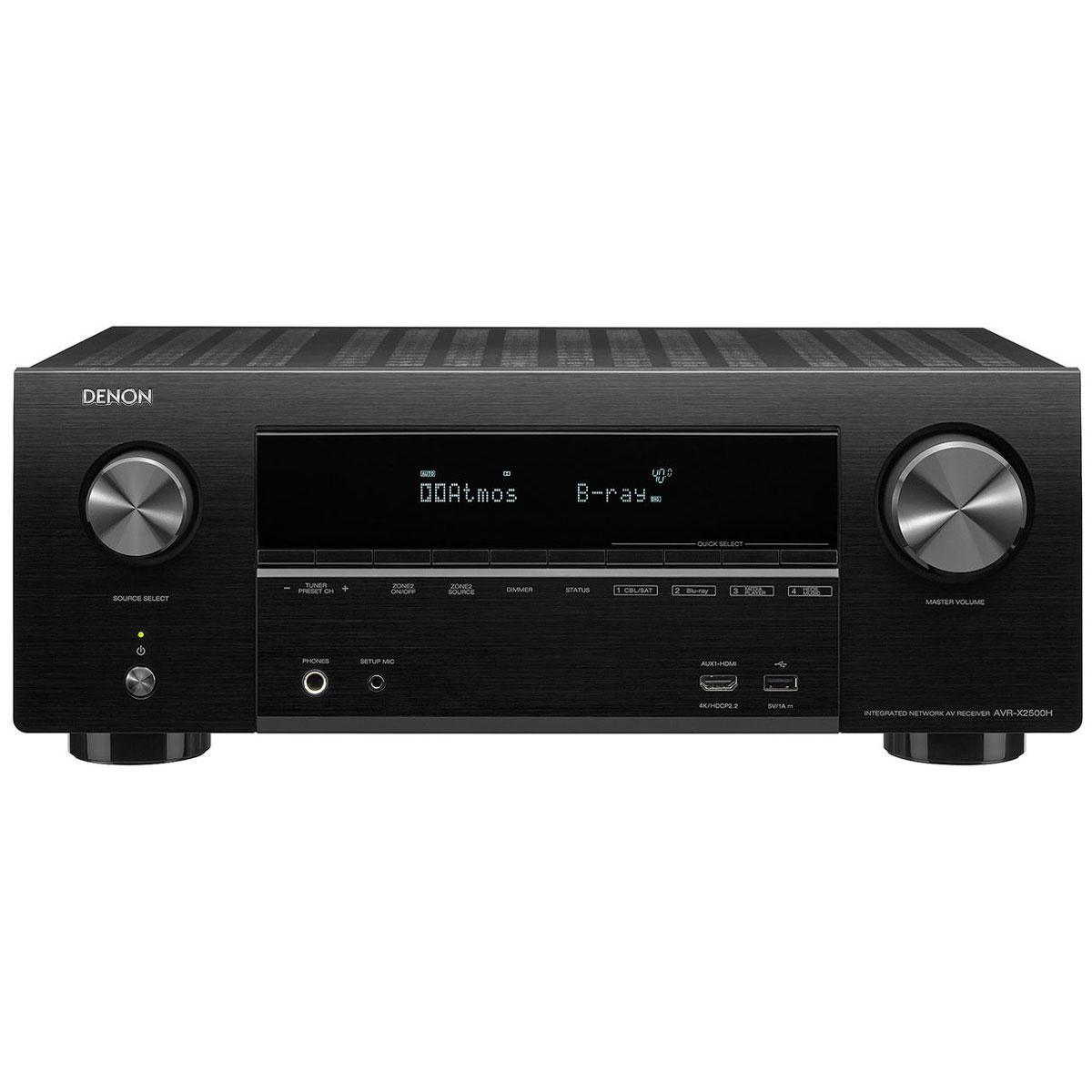 Ampli home cinéma Denon AVR-X2500H Noir Ampli-tuner Home Cinema 3D Ready 7.2 - Dolby Atmos / DTS:X - 8x HDMI 4K Ultra HD, HDCP 2.2, HDR - Wi-Fi, Bluetooth, AirPlay 2 - Multiroom - Amazon Alexa