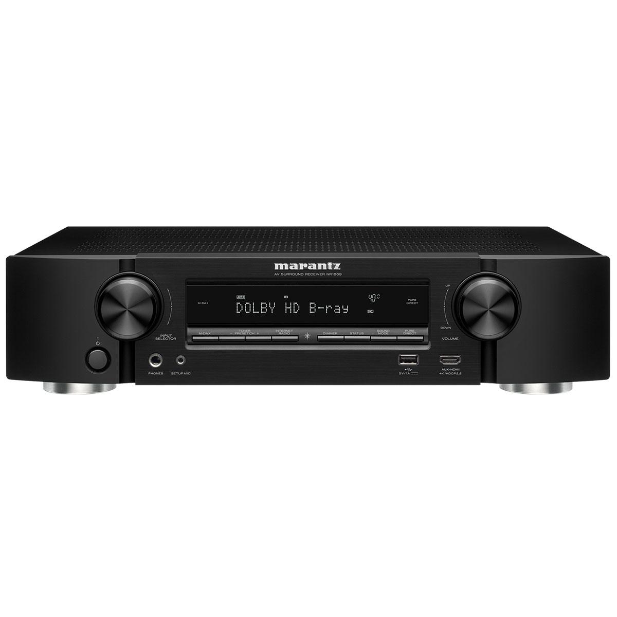 Ampli home cinéma Marantz NR1509 Noir Ampli-tuner Home Cinema Slim 3D Ready 5.2 - Dolby TrueHD / DTS-HD Master Audio - 6x HDMI 4K UHD, HDCP 2.2, HDR - Multiroom - Wi-Fi/Bluetooth/AirPlay 2 - Amazon Alexa