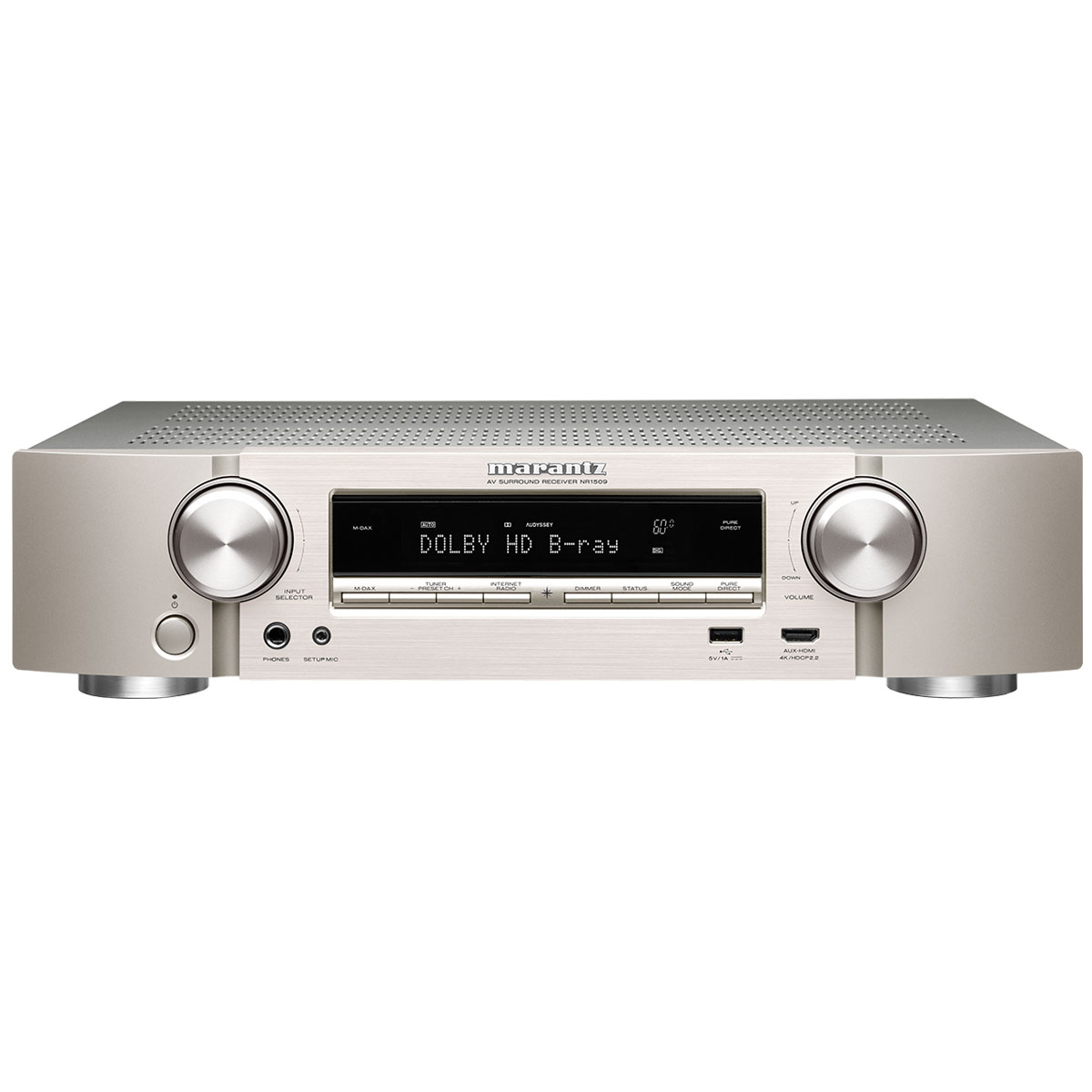Ampli home cinéma Marantz NR1509 Argent/Or Ampli-tuner Home Cinema Slim 3D Ready 5.2 - Dolby TrueHD / DTS-HD Master Audio - 6x HDMI 4K UHD, HDCP 2.2, HDR - Multiroom - Wi-Fi/Bluetooth/AirPlay 2 - Amazon Alexa