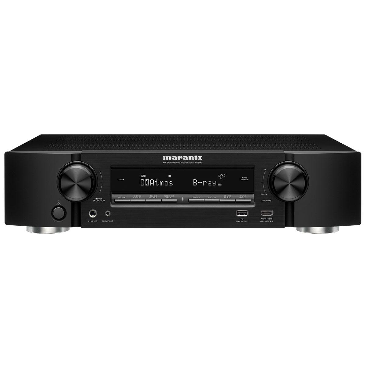 Ampli home cinéma Marantz NR1609 Noir Ampli-tuner Home Cinema Slim 3D Ready 5.2 - Dolby Atmos / DTS:X - 8x HDMI 4K UHD, HDCP 2.2, HDR - Multiroom - Wi-Fi/Bluetooth/AirPlay 2 - Amazon Alexa