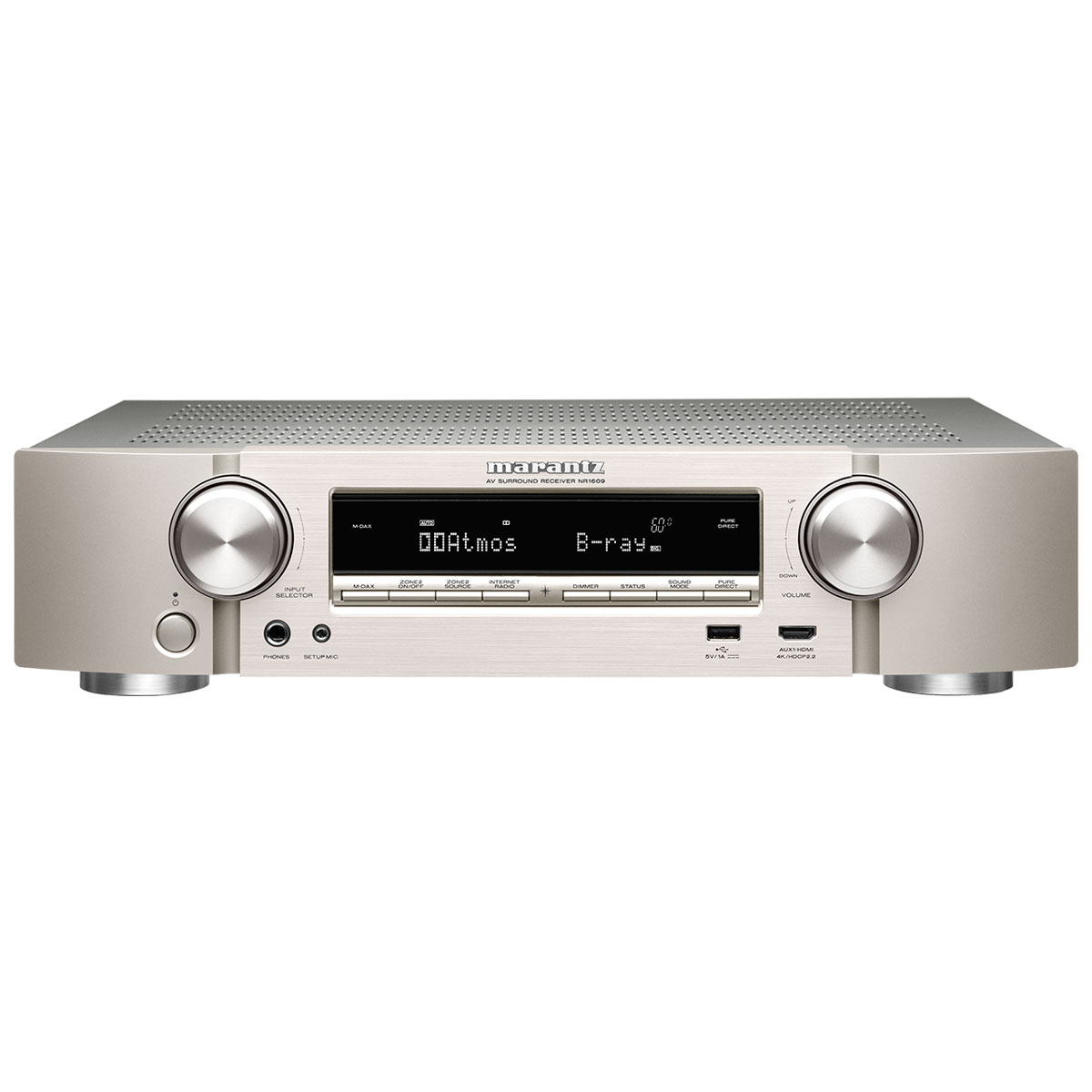 Ampli home cinéma Marantz NR1609 Argent/Or Ampli-tuner Home Cinema Slim 3D Ready 5.2 - Dolby Atmos / DTS:X - 8x HDMI 4K UHD, HDCP 2.2, HDR - Multiroom - Wi-Fi/Bluetooth/AirPlay 2 - Amazon Alexa