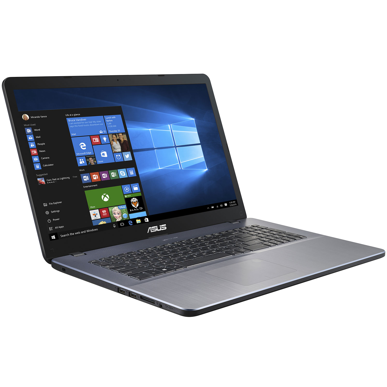"PC portable ASUS R702UA-BX647T Intel Pentium 4415U 4 Go SSD 128 Go + HDD 1 To 17.3"" LED HD+ Wi-Fi N/Bluetooth Webcam Windows 10 Famille 64 bits (garantie constructeur 2 ans)"