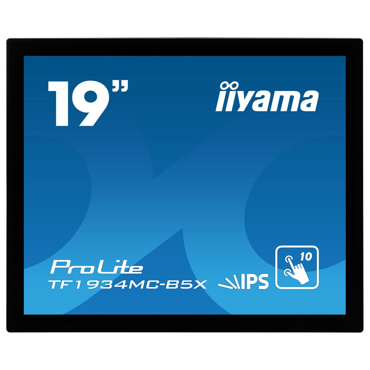 "Ecran PC iiyama 19"" LED Tactile - ProLite TF1934MC-B5X 1280 x 1024 pixels - Tactile MultiTouch - 14 ms - Format 5/4 - Dalle IPS - HDMI - DisplayPort - Noir - Sans pied"