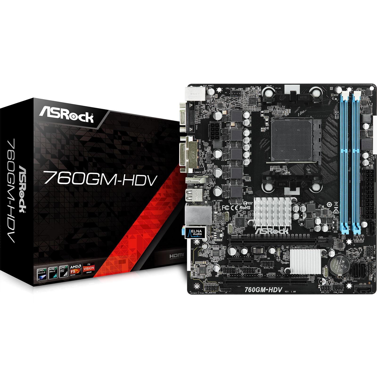Carte mère ASRock 760GM-HDV Carte mère micro-ATX Socket AM3/AM3+ AMD 760G - AMD Radeon HD 3000 - SATA 3Gbit/s - USB 2.0 - 1 x PCI Express 2.0 16x