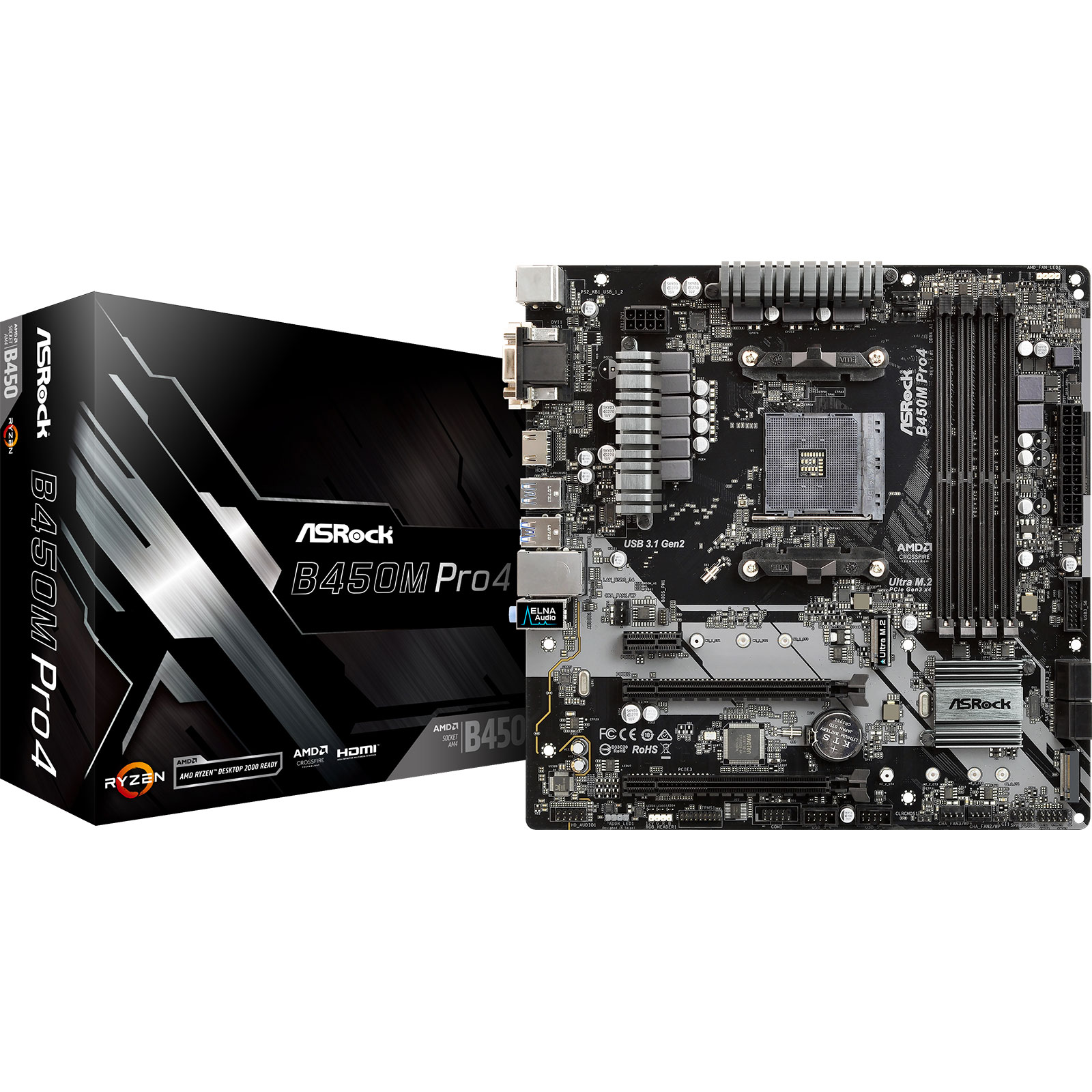 Carte mère ASRock B450M-Pro 4 Carte mère micro-ATX Socket AM4 AMD B450 - 4x DDR4 - SATA 6Gb/s + 2x M.2 - USB 3.1 - 1x PCI-Express 3.0 16x