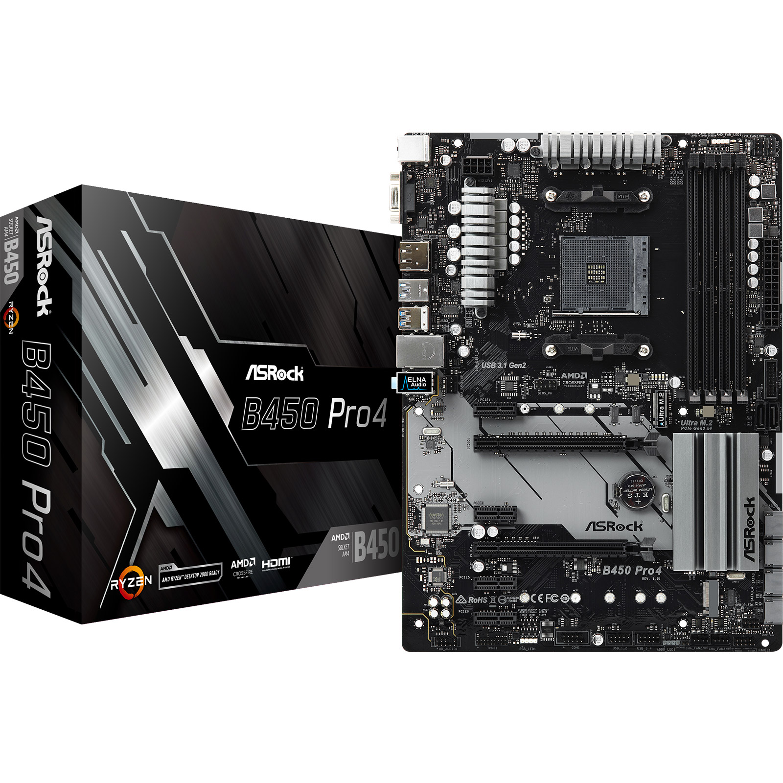 Carte mère ASRock B450-Pro 4 Carte mère ATX Socket AM4 AMD B450 - 4x DDR4 - SATA 6Gb/s + 2x M.2 - USB 3.0 - 1x PCI-Express 3.0 16x